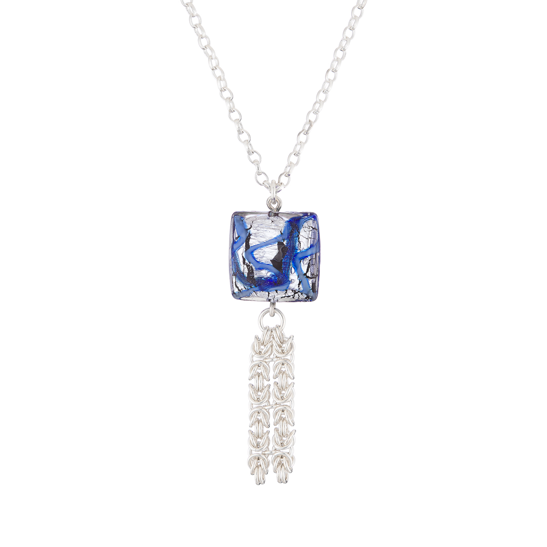 Handmade blue and Sterling silver square Murano glass and Sterling silver Byzantine chainmail necklace
