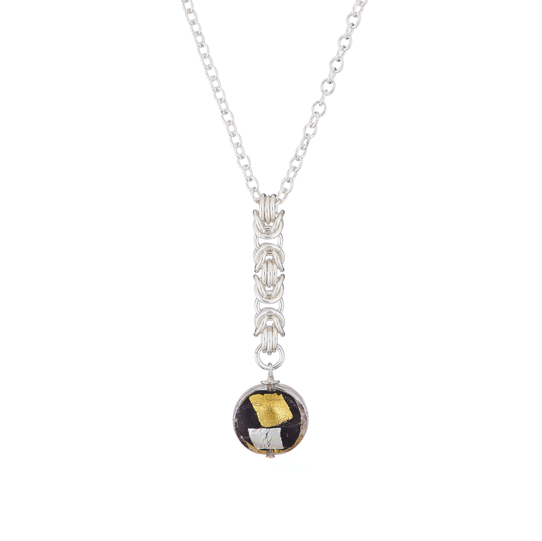 Handmade Gold & silver foil on black Murano glass with Sterling silver Byzantine chainmail necklace