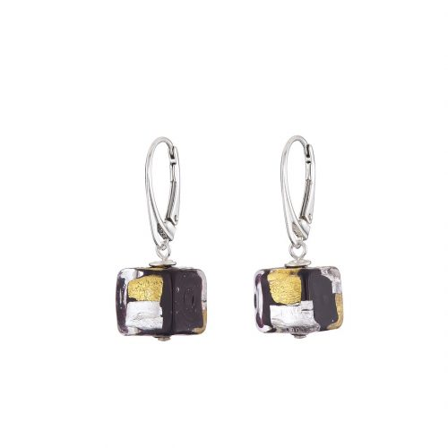 Gold & silver on black Murano glass cube earrings