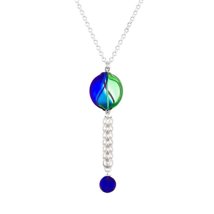 Handmade Sterling silver Persian chainmail and mouth blown blue and green Murano glass necklace