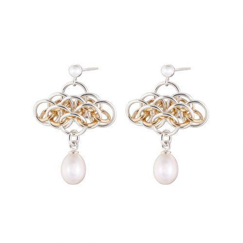 Handmade Sterling silver and 14k gold filled chainmail with freshwater pearls earrings