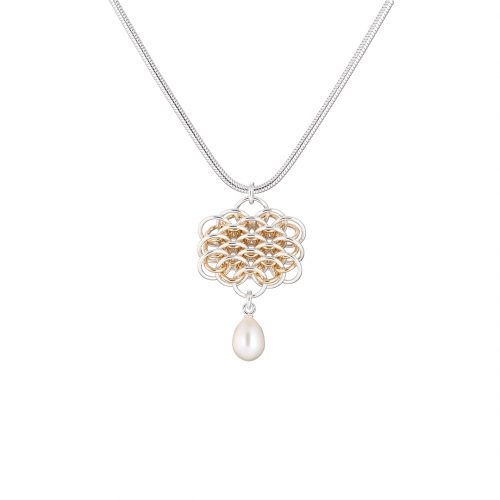 Handmade Sterling silver 14k gold filled chainmail and freshwater pearl necklace
