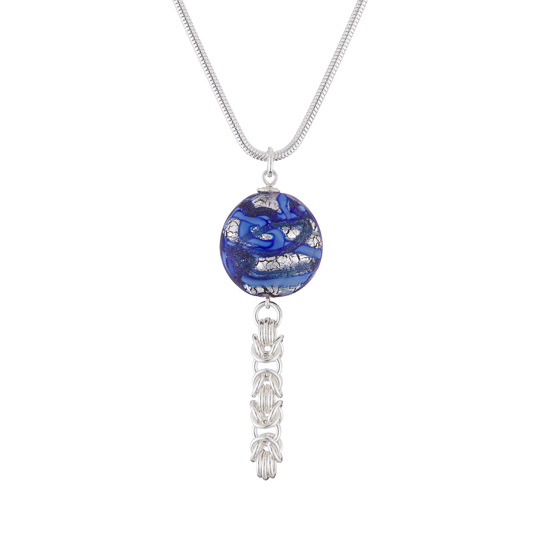 Handmade blue and Sterling silver Murano glass lentil and Sterling silver chainmail necklace