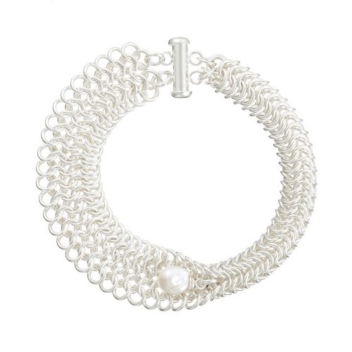 Handmade designer Sterling silver chainmail and pearl bracelet