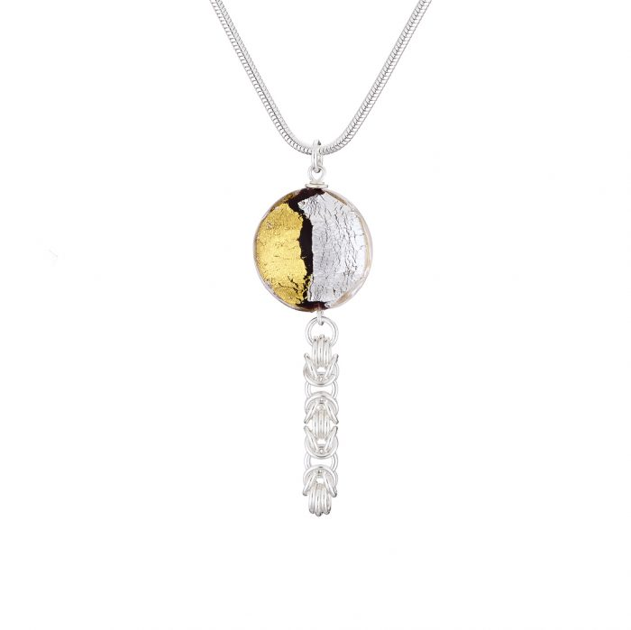 Handmade Sterling silver and 24k gold Murano glass with Sterling silver Byzantine chainmail necklace