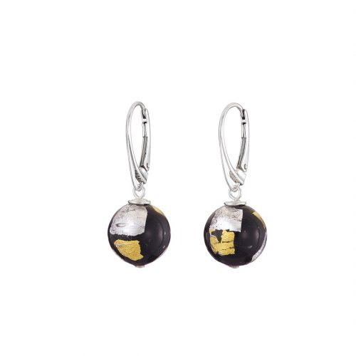 Gold & silver foil on black Murano glass earrings
