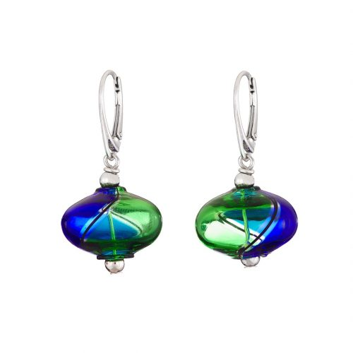Designer mouth blown blue and green Murano glass earrings