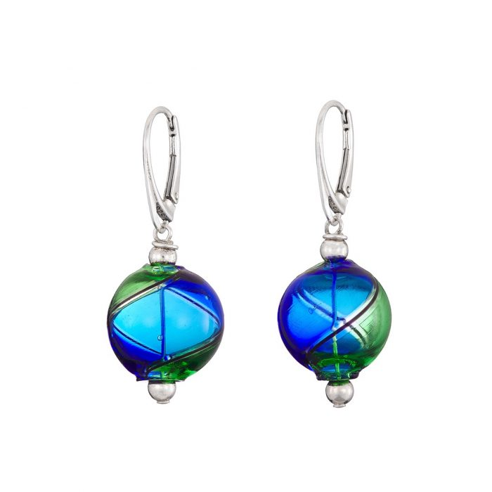 Mouth blown blue and green Murano glass earrings