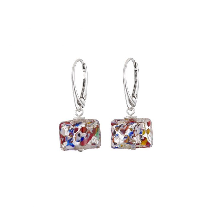Handmade Sterling silver and multicolour Murano glass cube earrings
