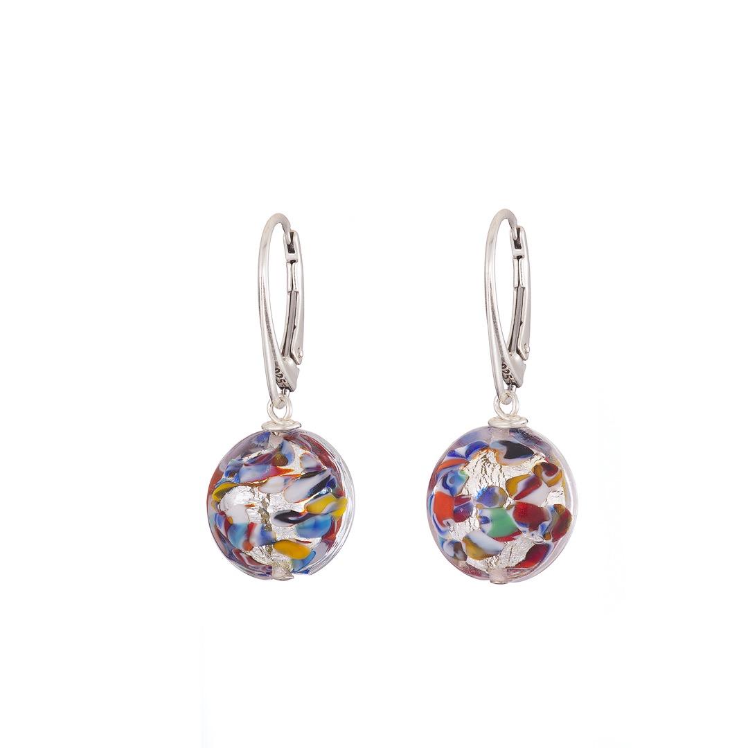 Handmade Sterling silver and multicolour lentil Murano glass earrings
