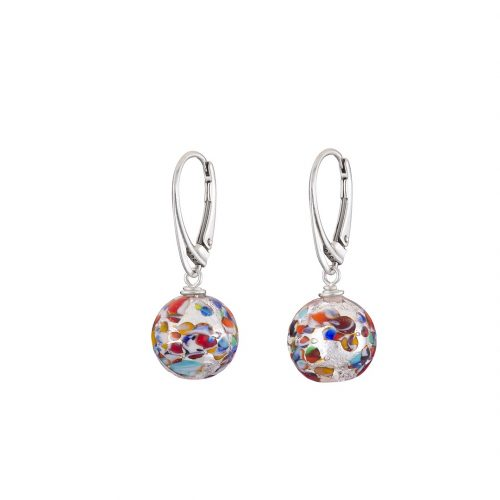 Handmade Sterling silver and multicolour round Murano glass earrings