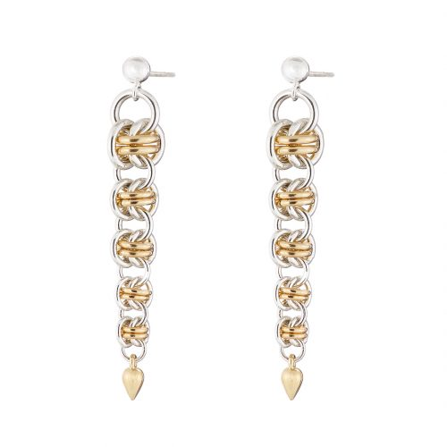 Handmade Sterling silver and gold filled graduated chainmail earrings