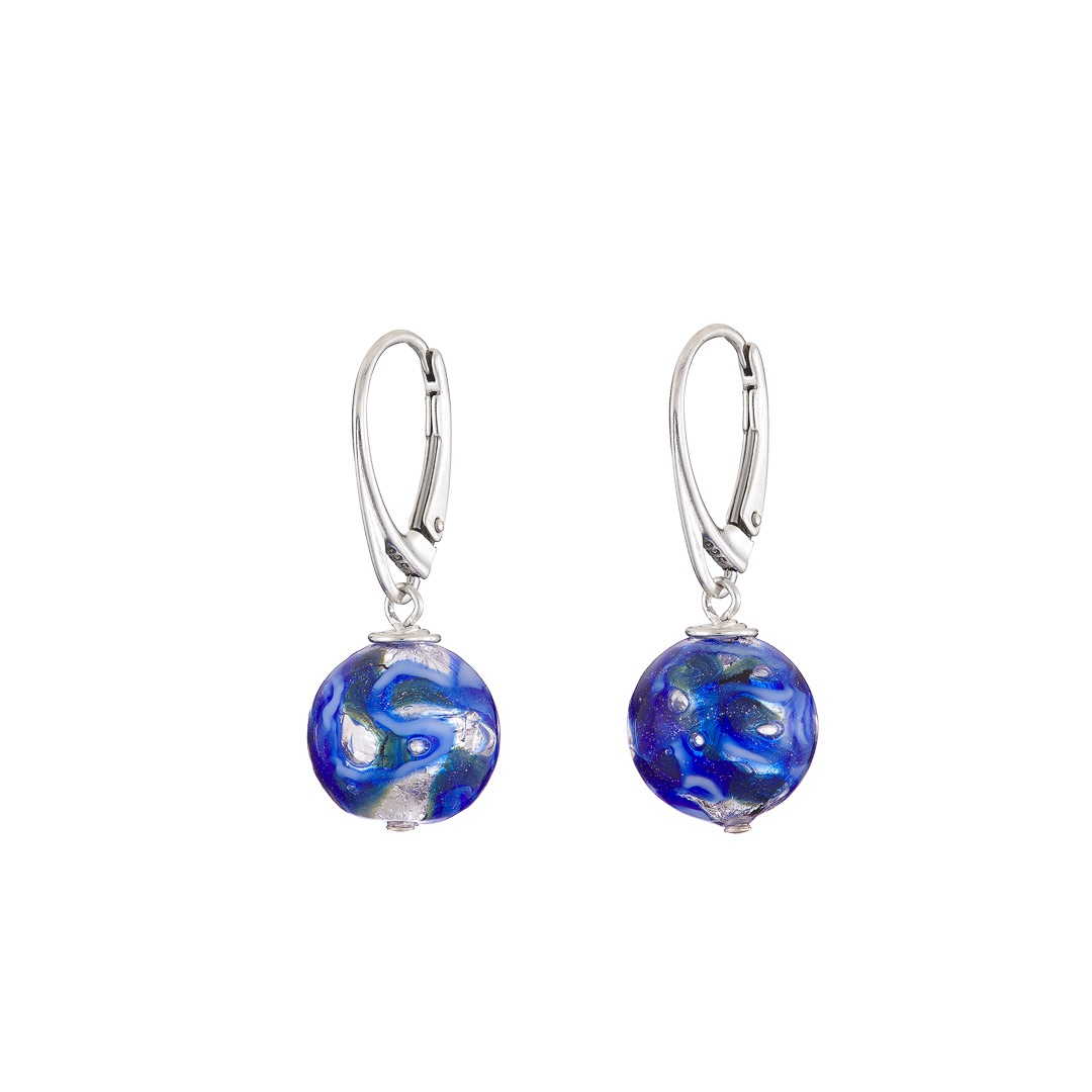 Handmade blue and Sterling silver round Murano glass earrings
