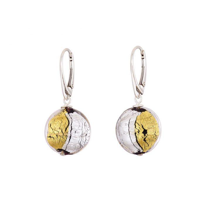 Designer handmade gold & Sterling silver Murano glass earrings