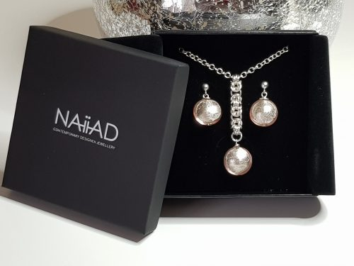 NAIIAD handmade Sterling silver Byzantine chainmail and pink Murano glass necklace and earrings gift set