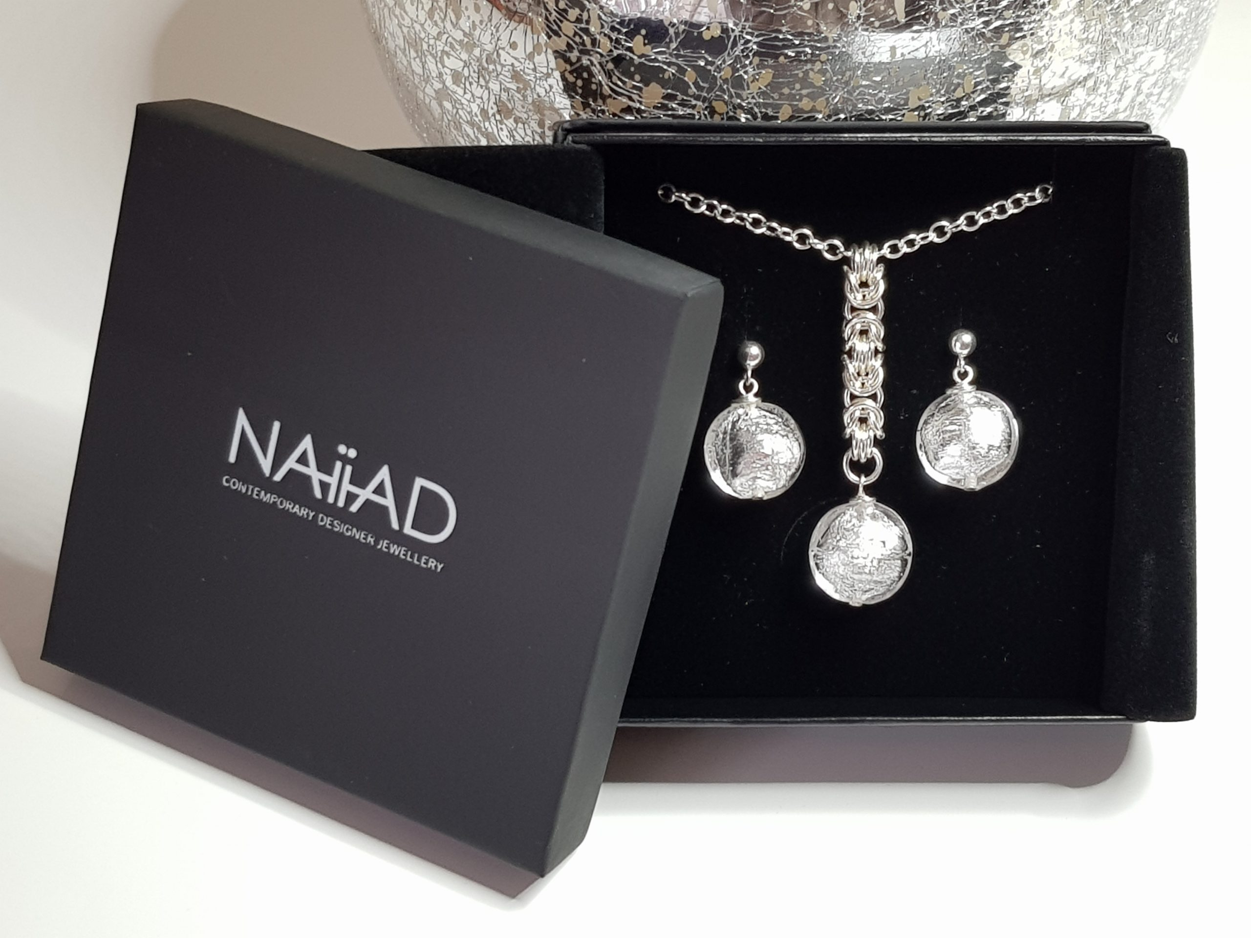 NAIIAD handmade Sterling silver Byzantine chainmail and silver foil Murano glass necklace and earrings gift set