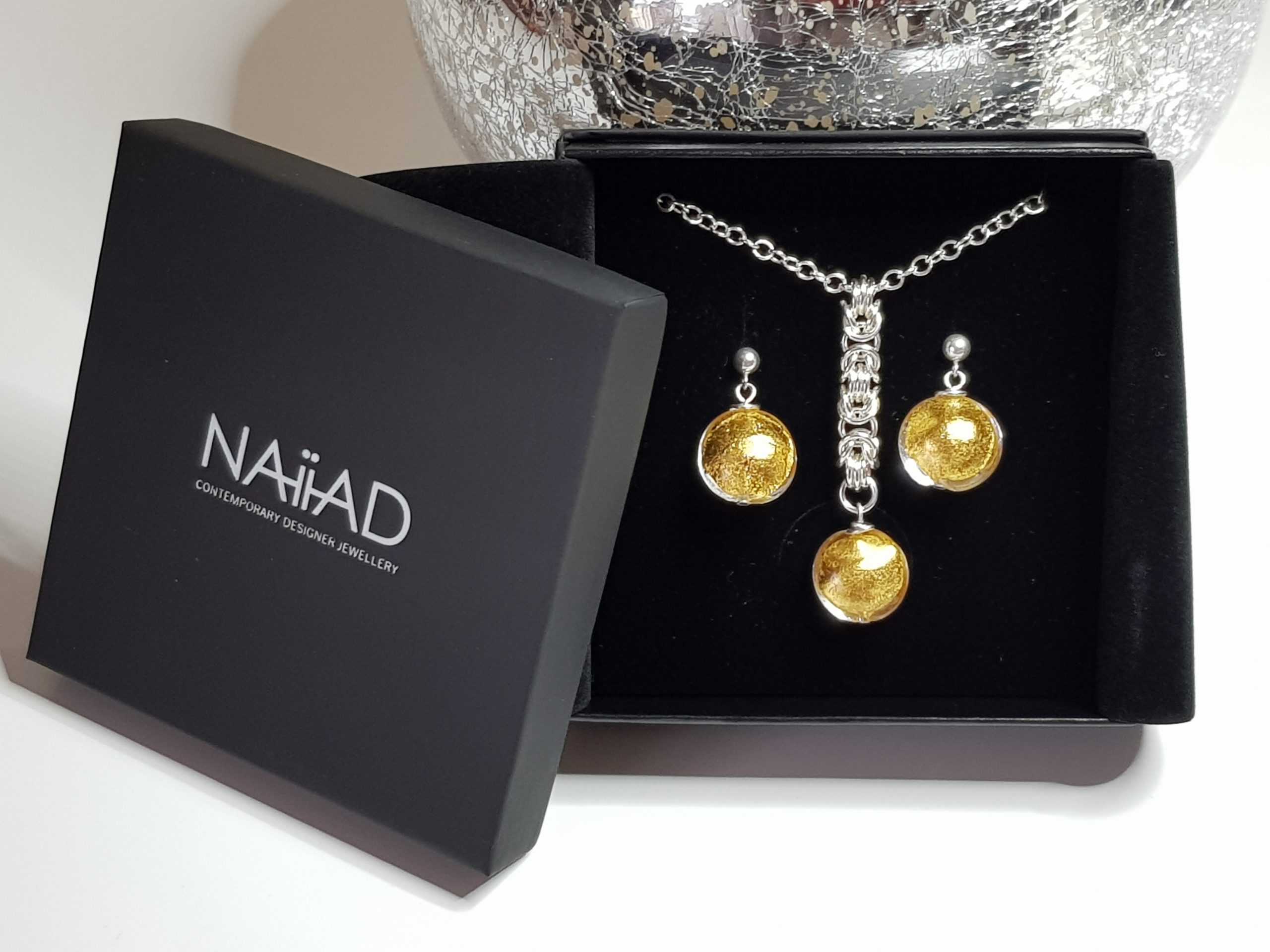 NAIIAD handmade Sterling silver Byzantine chainmail and 24k gold foil Murano glass necklace and earrings gift set
