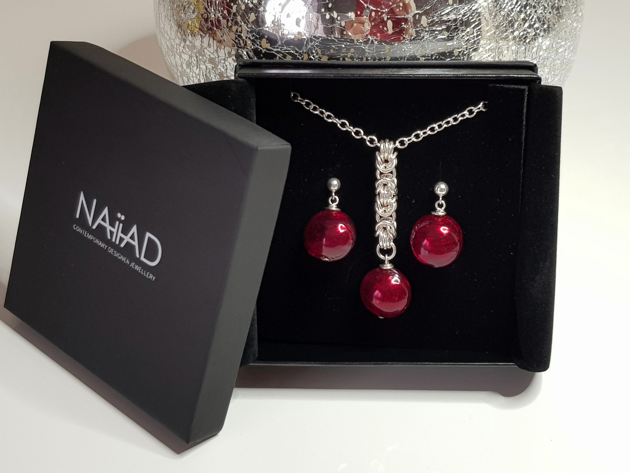 NAIIAD handmade Sterling silver Byzantine chainmail and red Murano glass necklace and earrings gift set