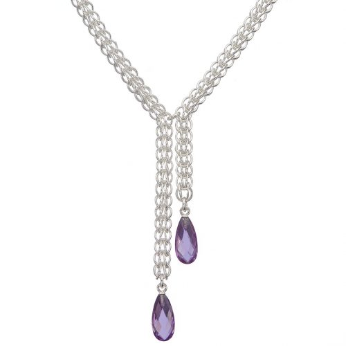 Handmade sterling silver Persian chainmail and amethyst drops necklace